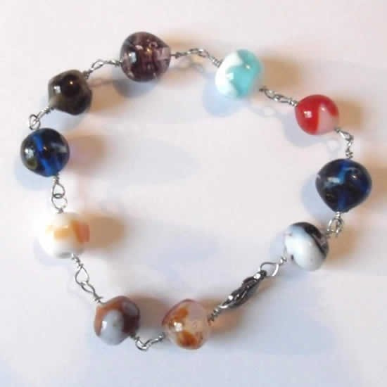 One of a kind 8 Inch Handmade Lampwork Glass Bead Bracelet