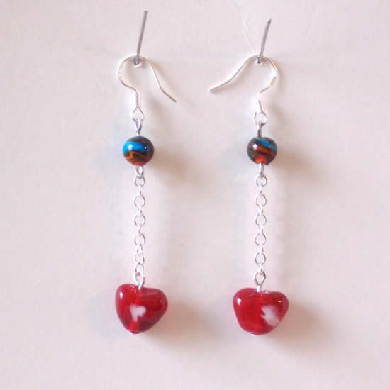 """One of a kind"" Red Heart Earth Handmade Glass Bead Earrings."