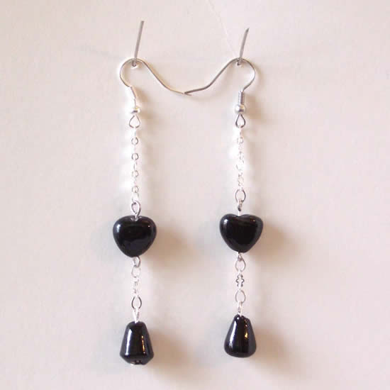 Black Heart Drop Bottom Handmade Glass Bead Earrings