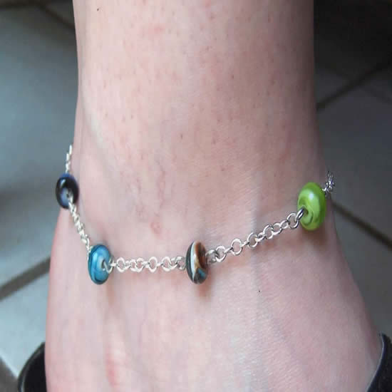 "One of a kind"" Hand made Rainbow Swirl Glass Bead Anklet"