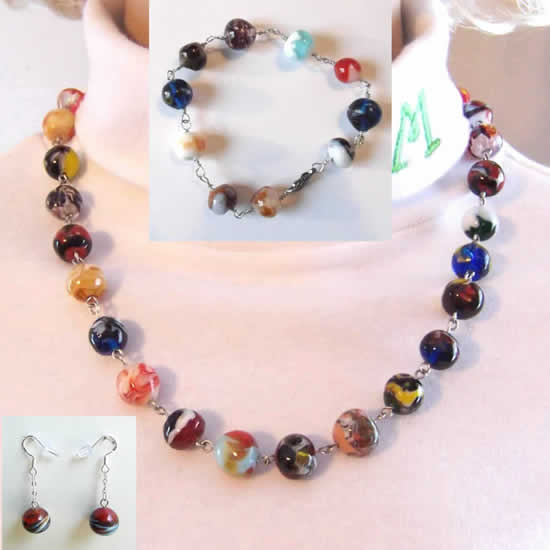 Rainbow Colored Lampwork Glass Bead Necklace, Bracelet, and Earrings Three Piece Set