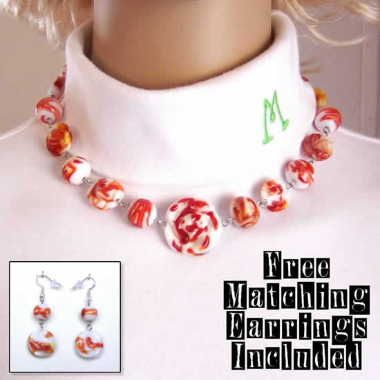 17 Inch Strawberries and Cream Extraordinary Fashion Choker Necklace