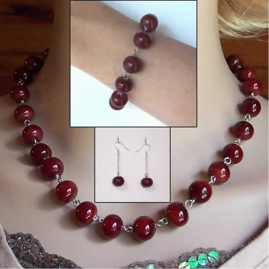 Blood Red Lampwork Glass Bead Jewelry Complete set: Necklace, Bracelet, and Earrings