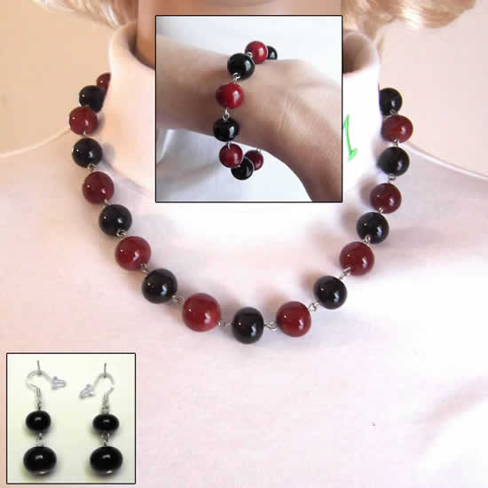 Blood Red & Midnight Black Gothic Glass Bead Fashion Necklace, Bracelet, and Earrings Ensemble