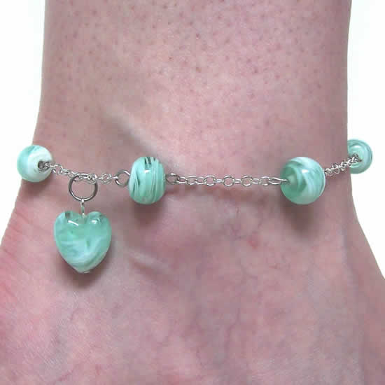 One of a kind Sea Green Swirl Heart Glass Bead Anklet