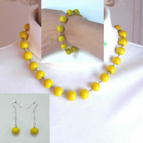 Brite Lemon Yellow Fashion Essentials Necklace, Bracelet, and Earrings Set
