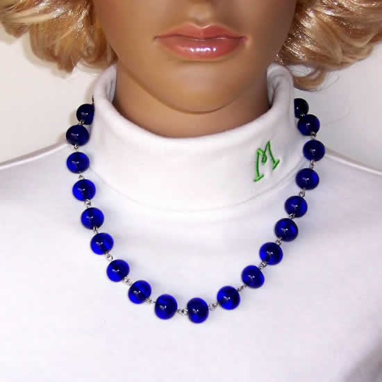 19 Inch Vibrant Blue Glass Bead Necklace