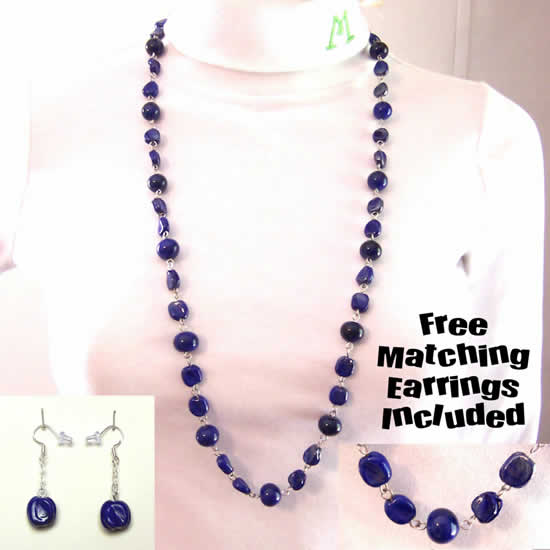 34 Inch Lapis Blue Hand Made Pebble Shell Glass Bead Necklace