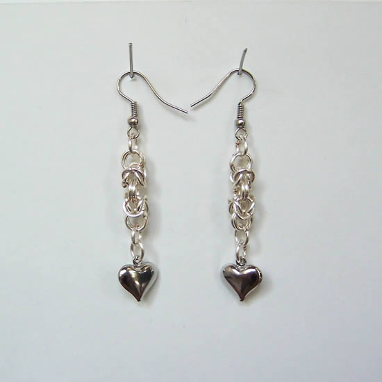 Handmade Chain Maille Byzantine Link Heart Earrings.