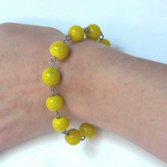 One of a kind Lemon Yellow Lampwork Glass Bead Bracelet