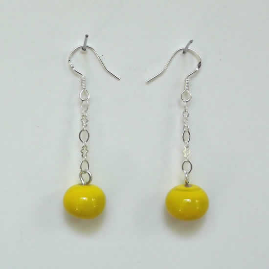 Lemon Yellow Hand made Glass Bead Earrings