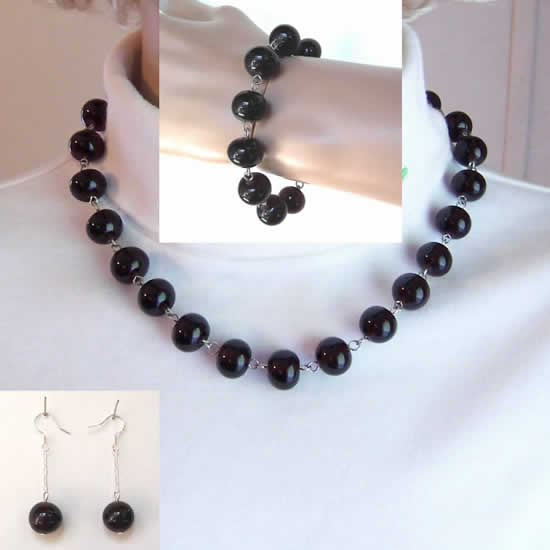 Dark Amethyst Glass Bead Fashion Necklace, Bracelet, and Earrings, 3 Piece Jewelry Set