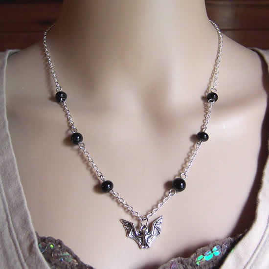 """One of a kind"" Halloween Vampire Bat Midnight Black Glass Bead Necklace"