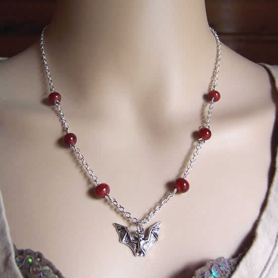 """One of a kind"" Halloween Vampire Bat With Drops of Blood Red Glass Bead Necklace"