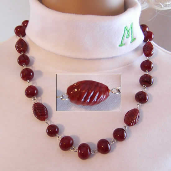 Wild Cherry Candy Hand Made Lampwork Glass Bead Necklace