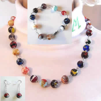 Rainbow Colored Glass Bead 3 Piece Set