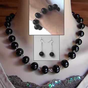 Midnight Black Bead Jewelry Set