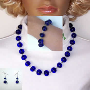 19 Inch Vibrant Blue Glass Bead Earrings, Bracelet, and Necklace, Jewelry Set