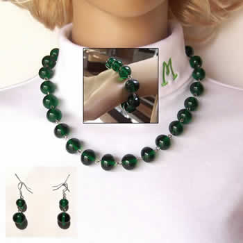 19 Inch Transparent Green Earrings, Necklace, Bracelet, Glass Bead Fashion Set