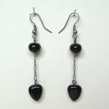 Black Heart Bead Earrings
