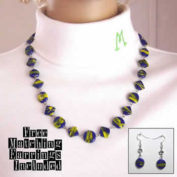 Dazzling Blue & Yellow Geometric Glass Bead Necklace