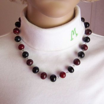 Blood Red & Midnight Black Glass Bead Necklace